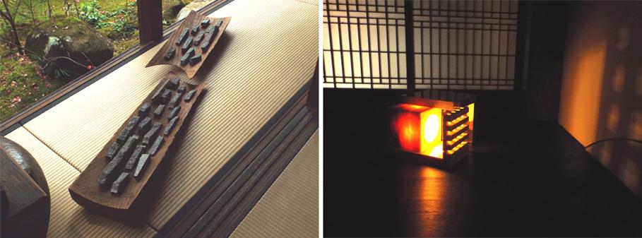 北川さんが主宰する「aroy」の作品。  【左】箸置や文鎮など様々に使えそうな石の質感を活かした作品。ユニークな木器にレイアウトされたディスプレー感覚は抜群。 【右】大理石で創られたキュービックなランプ。暗い所での点灯時も美しいが、明るい時にもオブジェとして美しい。